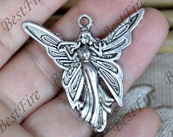 6 pcs of Antique Silver charming Fairies pendant,Fairies  metal finding 37x37mm,Fairies findings beads,Fairies pendant beads findings
