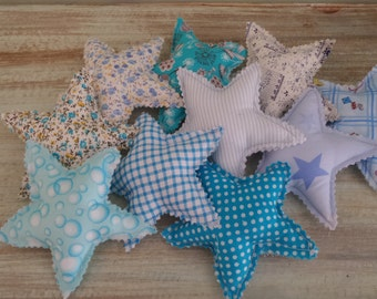 10 Stars, Fabric Stars Mobile Crafting, Fabric Stars Material, Stars Decoration, Blue Stars