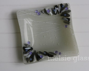 Gray and Purple glass jewelry dish - gray glass with wreath edge design, ring dish