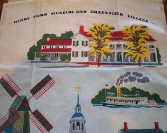 Vintage Mid Century Linen Kitchen Towel - Henry Ford Museum And Greenfield Village
