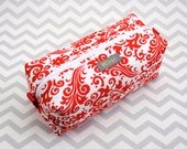 Small Box Bag, Cosmetic Bag or Pencil Case - Red