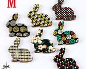 7PCS Handmade Vintage Style Colorful Wooden Rabbit  Laser Cut wood Charms / Pendants-(WK-M)