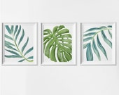 Beach Art Prints, Watercolor Beach Nursery Art, Tropical Palm Leaves Wall Art, Set of 3 Palm Wall Art, Palm Beach Cottage Wall Decor Art