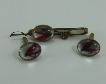Vintage Fishing Lure Cufflinks Cuff Links Matching Tie Clip Set