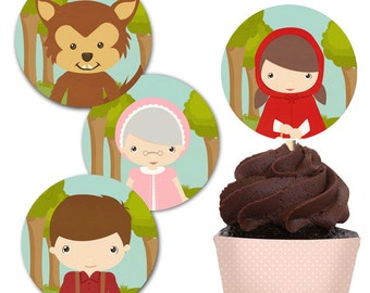 Little Red Riding Hood 2 inches Party Circles Cupcake Topper and Wrap, Instant Download, Print Your Own