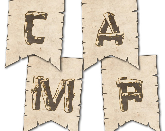 Camping Party Banner, Alphabet and Numbers, Camp Out Party, Pennant, Instant Download, Print Your Own