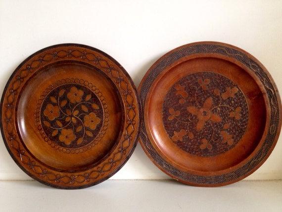 Vintage Polish Wood Folk Art Plates