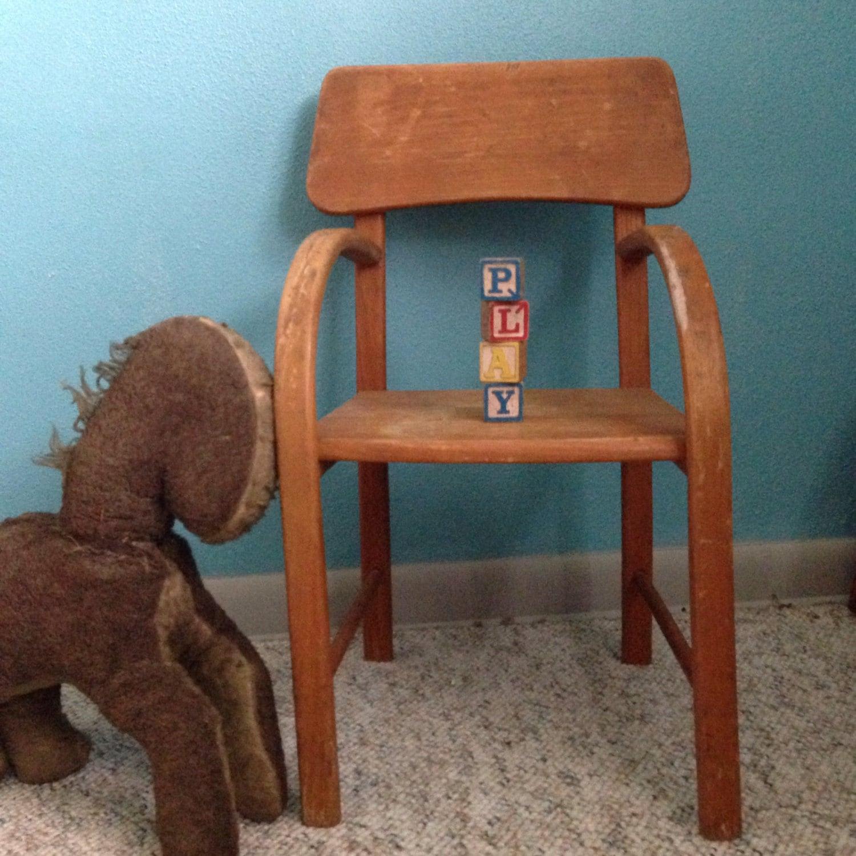Mid century wood kids chair haute juice