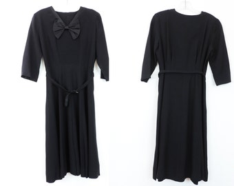 Vintage Dress Black with Bow Pin Tuck Yoke and Belted  Free Shipping Rayon Ladies Fashion from the 1940's