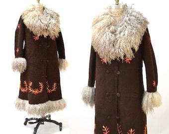 Vintage Embroidered Shearling Afghan Jacket Coat Medium// 70s