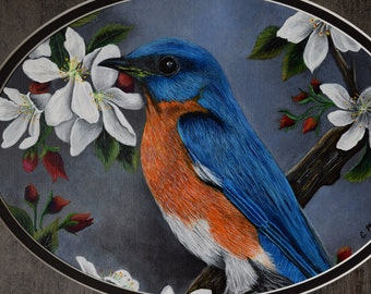Framed Bird Painting - Bluebird in a Dogwood Tree, bluebirds, ,dogwood blossoms, original painting, blue, black, orange, flowers, feathers