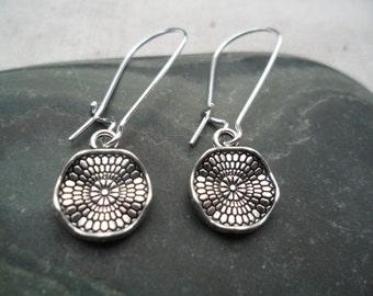 Silver Dangle Drop Earrings - Boho Chic - Moroccan - Geometric Silver Earrings - Simple Everyday Earrings