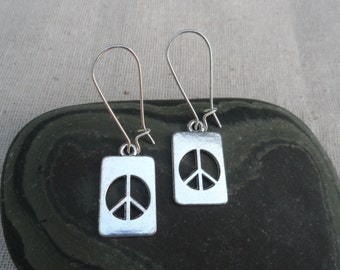 Silver Peace Sign Earrings - Simple Everyday Silver Tag Earrings - Peace Jewelry