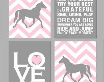 "Horse Room Decor Girls Room Horse Nursery Art Girl Room Decor Horse Silhouette Chevron Nursery Elephant Nursery Set of four 8""x10""s"