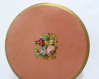 Vintage Pink Round Make Up Tin  /  Pink Decorative Tin Storage /  Kitsch Round Tin Container / Collectible Pink Tin SwirlingOrange11