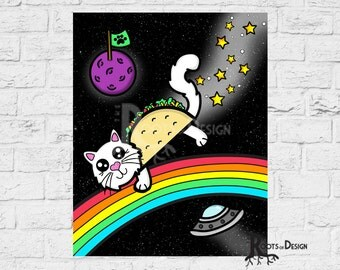 Instant Download - Taco Cat in Space Print,  8x10 art prints