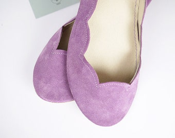 Radiant Orchid Soft Suede Scalloped Handmade Ballet Flats Shoes