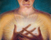 """Surreal image of a woman in quiet contemplation, her hands clasped over a bright glow in her chest - ACEO Art Reproduction (Print) - """"Spark"""""""