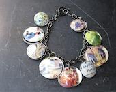 Tin Charm Bracelet- Paris is Calling-Travel Jewelry- Paris Bracelet-10th Anniversary