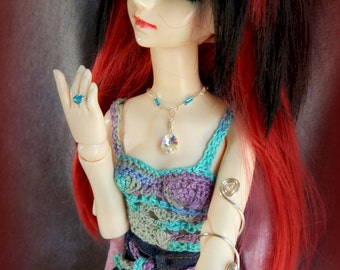 MSD Jewelry Set, Blue Crystal BJD Jewelry Set, Blue MSD Necklace, Blue Doll Necklace, Doll Bracelet, and Swarovski Crystal Doll Ring