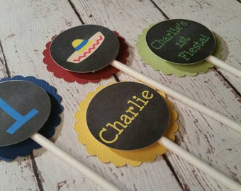 Fiesta Cupcake Toppers - 1st Birthday Decor - First Fiesta - Fiesta Party Decor