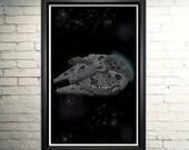 Milennium Falcon, Return of the Jedi Typographical Art Print