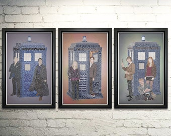 "Doctor Who Word Art Print Three Set - 11x17"""