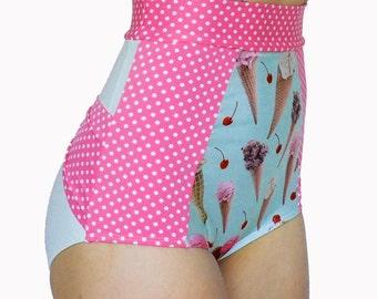 High Waisted Bikini Retro Bikini Ice Cream and Polka Dot Bow Butt Plus Size Swimsuit McLaineO  XS-XXL Full Cover Modest