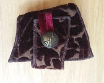 Burgundy Brocade - Fabric Cuff Bracelet - Festival Fashion