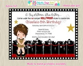 Hollywood Diva Birthday Party Invitation invite, Glam dress up, red carpet, glamour party, Glitter gold, African american, digital DIY
