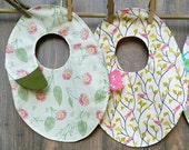 Baby Girl Bibs Gift Set Pink Green -- Girls Bibs Dragonflies Flowers Birds Set of 2 -- Baby Shower Gifts for Girls -- Baby Accessories