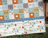 Woodland Organic Baby Quilt Feather River Camp Sur Camping Outdoors Hiking Canoeing Unisex Boy Girl Blanket Bear Modern Forest