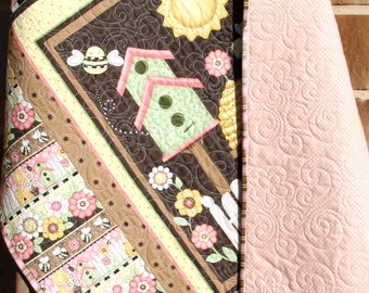 SALE Let it Bee Baby Quilt, Girl Bedding, Nursery Decor Handmade Keepsake Traditional Blanket, Pink Brown Yellow, Bees Bird House Honey Comb