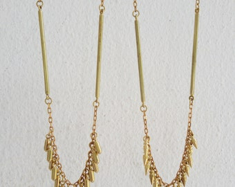 Lil - Solid brass bullets and vintage brass connectors everyday necklace