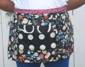Black apron flower and birds, heavy canvas, 2 large pockets, bistro, gardener, teacher