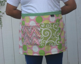 Pink, green, yellow polka dot half apron, heavy canvas, 2 large pockets, men or women.