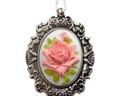Shabby Chic Necklace, Peach Rose Cameo Flower Necklace, Peach Jewelry, Statement Necklace. Mother Christmas Gift