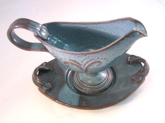Serving Bowl / Boat and Saucer Set for Gravy or Sauce - Country Home Cooking Handmade Pottery Glazed in Retro Blue
