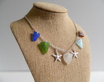 Authentic Sea Glass & Starfish Charm Necklace - Multi Colored Seaglass Collar - Genuine Beach Glass Jewelry
