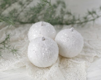 Spun Cotton Snowball Ornaments - Shimmering White Christmas Decorations, Set of 3