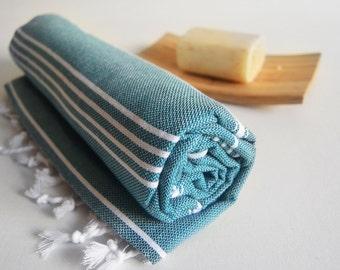 Shipping with FedEx - Turkish BATH Towel - Classic Peshtemal - Green Water Teal Green Beach, Spa, Swim, Pool Towels and Pareo