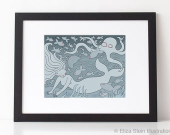 Mermaid Art Print, Bioluminescent Deep Sea Ocean Life, Blue Grey Sea Creatures Illustration for Children, Nursery
