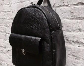 Black Genuine Ostrich hide Large Backpack- Laurel Dasso