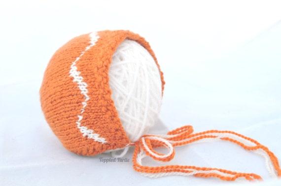 Newborn Knit Baby Bonnet | Newborn Knit Photo Prop | Handspun Orange Wave Baby Bonnet | Handspun Knit Baby Bonnet | Newborn Fall Photo Prop