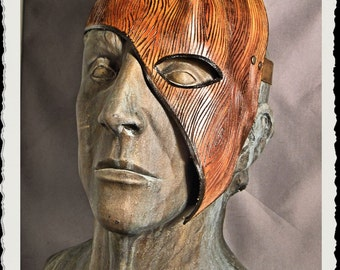 Wooden leather half mask