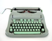 Hermes 3000 Typewriter Rounded Manual Mint Green 1960's  Case