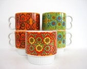 Vintage Ceramic Coffee Mug Set Tea Cup Mugs Stackable 1970s Geometric Pattern and Decoration Art Hippie Funky Floral Green Orange