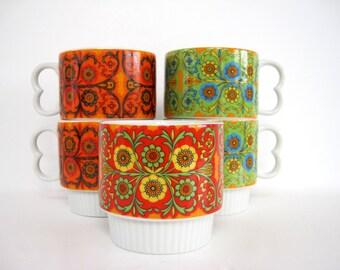 Vintage Ceramic Coffee Mug Set Tea Cup Mugs Stackable 1970s Geometric Pattern and Decoration Art Hippie Funky Floral Green Orange