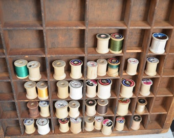 Instant Collection of 37 Wooden Thread Spools Lot Vintage Spools Coats Clarks Belding Lily Talon Star Empty Wooden Spools Antique Thread
