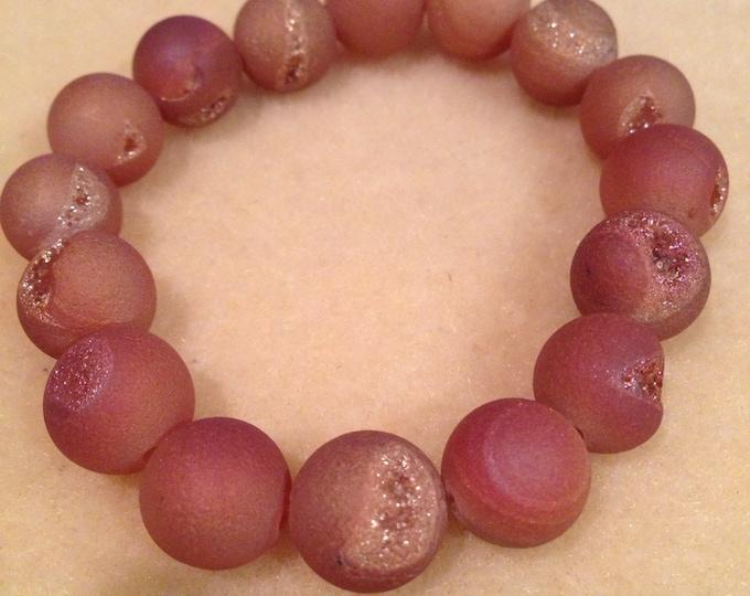 Peach Drusy Agate Bracelet 12mm Round Bead Stretch Bracelet